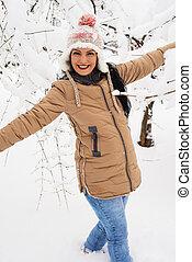 mulher, parque, neve, rir
