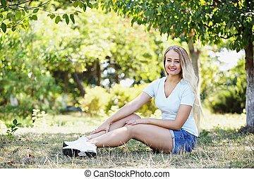 mulher, parque, relaxante