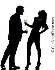 mulher, partying, par, silueta, bebendo, champanhe, homem