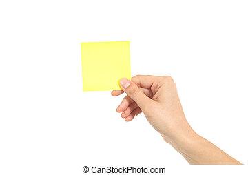 mulher, passe segurar, um, amarela, notepaper