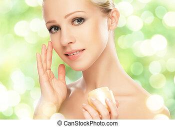 mulher, pele, beleza natural, creme, cuidado, verde