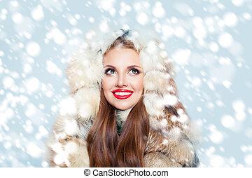 mulher, pele, casaco inverno, neve, fundo, bonito