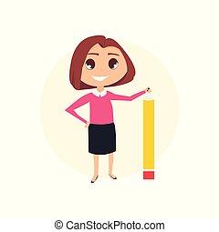 mulher, pencil., negócio