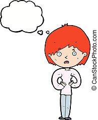 mulher, pensamento, fazer, me?, bolha, caricatura, gesto