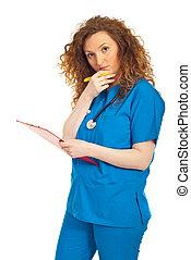 mulher pensando, área de transferência, doutor