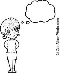 mulher pensando, caricatura