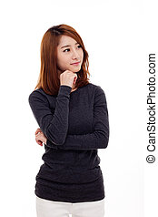 mulher pensando, jovem, asiático