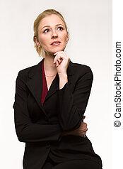 mulher pensando, negócio