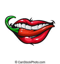 mulher, pepper., lábios