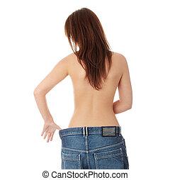 mulher, perdido, peso, mostrando, como, muito, ela
