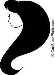 mulher, perfil, beleza, rosto, silhouette., vetorial, ilustração