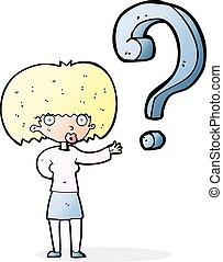 mulher, pergunta, caricatura