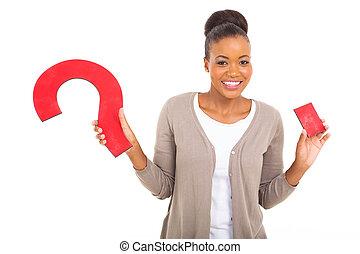mulher, pergunta, jovem, marca, segurando, africano