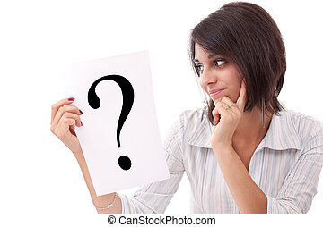 mulher, pergunta, negócio, marca