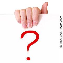 mulher, pergunta, sinal, papel, segurando mão, vermelho