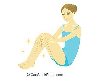 mulher, perna, cuidado