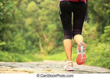 mulher, pernas, andar, jovem, condicão física