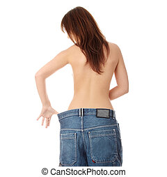 mulher, peso, mostrando, lost., como, muito, ela