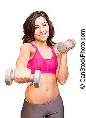 mulher, pesos, atraente, levantamento, condicão física