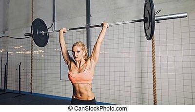mulher, pesos, crossfit, levantamento