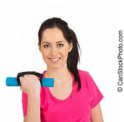 mulher, pesos, sorrindo, condicão física, levantamento