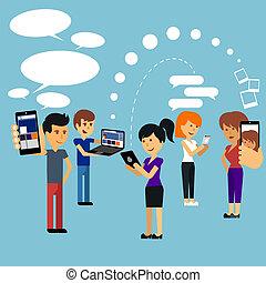 mulher, pessoas, dispositivo, jovem, usando, tecnologia, ...