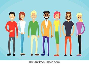 mulher, pessoas, mistura, casual, homem, estudantes, grupo, ...