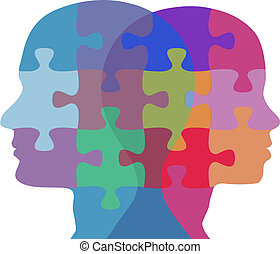 mulher, pessoas, quebra-cabeça, rosto, problema, homem