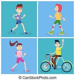 mulher, pessoas., runners., ilustração, bicycle., vetorial, ativo, menina, skates., rolo, homem