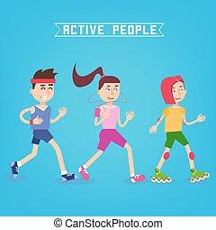 mulher, pessoas., runners., ilustração, vetorial, ativo, menina, skates., rolo, homem