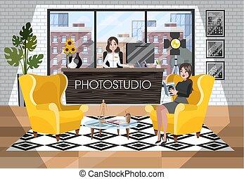 mulher, photostudio, fotógrafo, esperando, recepção, interior.