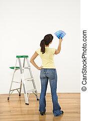 mulher, pintura escolhendo, color.