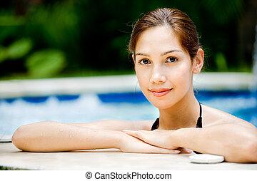 mulher, piscina