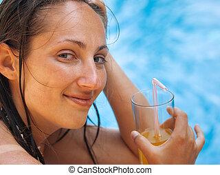 mulher, piscina, natação