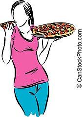 mulher, pizza, ilustração, comer, vetorial