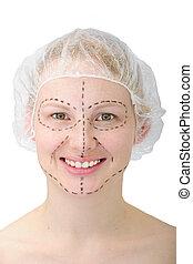 mulher, plástico, surgery/, elevador, antes de, rosto, feliz