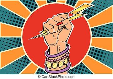 mulher, poder, caucasiano, menina, relampago, fist.