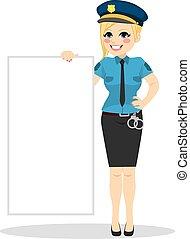 mulher, polícia, tábua, segurando, em branco