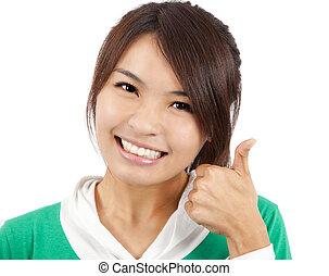 mulher, polegar cima, jovem, asiático, sorrindo