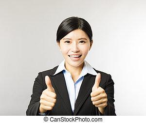 mulher, polegar, negócio, cima, jovem, sorrindo, gesto