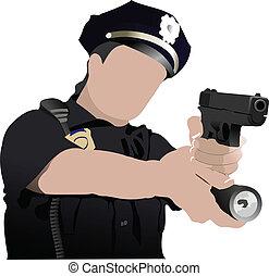 mulher policial, esperando ansiosamente, isol