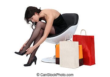mulher, poltrona, shopping