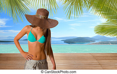 mulher, por, a, piscina, em, tropicais, recurso