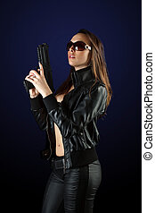 mulher, posar, arma