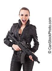 mulher, posar, armas