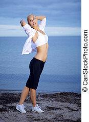 mulher, posar, condicão física, bonito