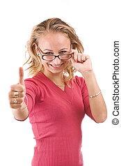 mulher, posar, excitado
