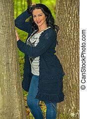 mulher, posar, floresta