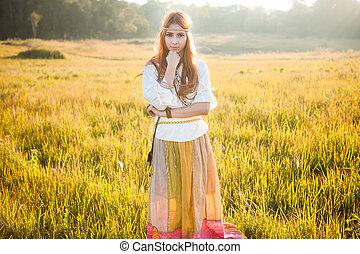 mulher, posar, hippie