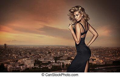 mulher, posar, loura, telhado
